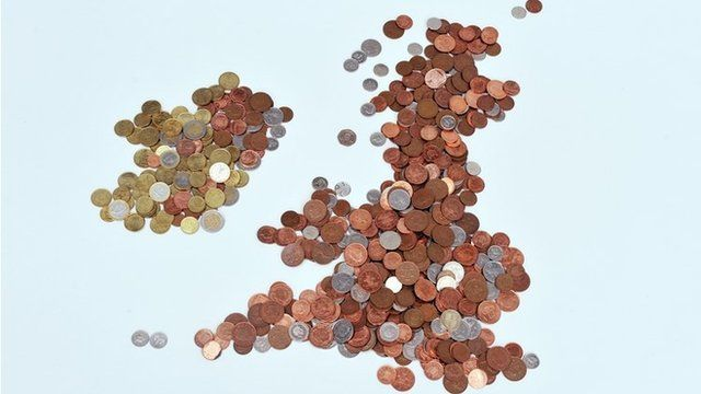 Map of UK made out of coins