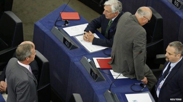 The UKIP MEPs staged a silent, symbolic protest