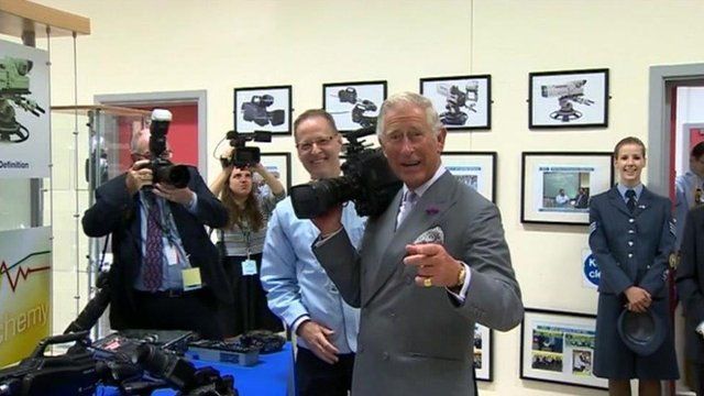 Prince Charles tries a video camera