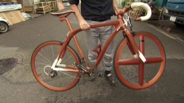 a wooden bike