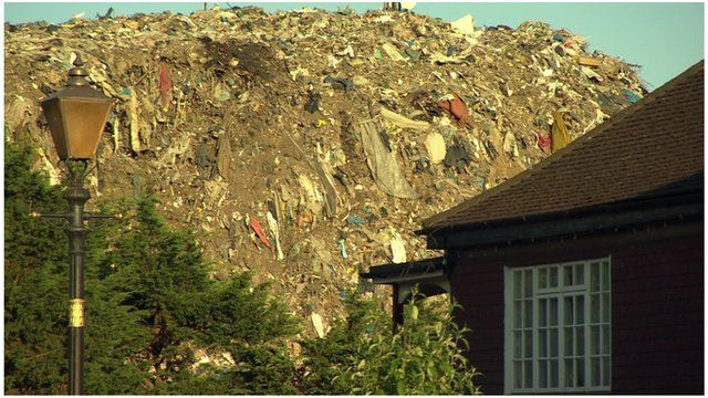 Rubbish mound behind Bromley property