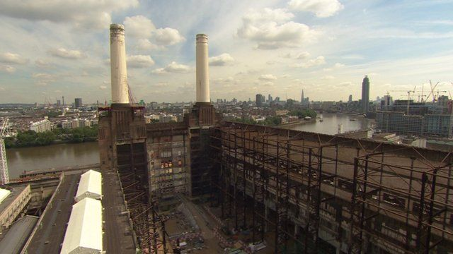 The four chimneys at Battersea Power Station are due to be replaced with replicas