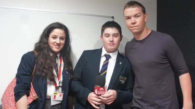 Will Poulter with Appleton Academy School Reporters