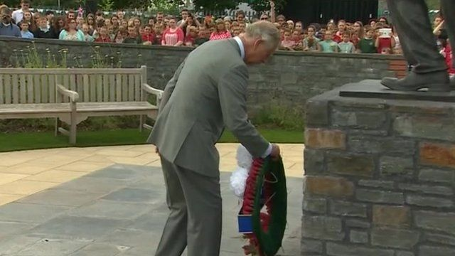 The Prince of Wales lays a wreath at the Welsh National Mining Memorial in Senghenydd