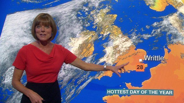 Louise Lear with weather map