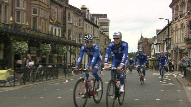 Team FDJ riders in Harrogate