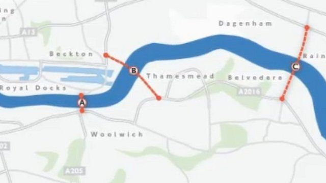 A proposed bridge across the River Thames
