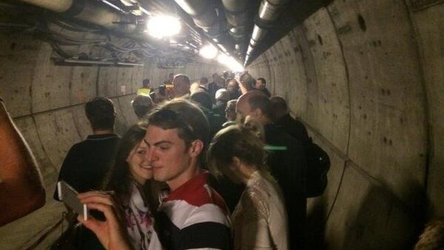 Passengers in the Channel Tunnel after a fault meant that the train was evacuated on 7th July 2014