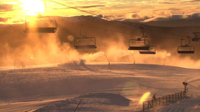 Ski lifts over Mount Buller in Australia