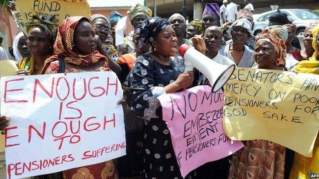 Women protesting about pensions in Nigeria