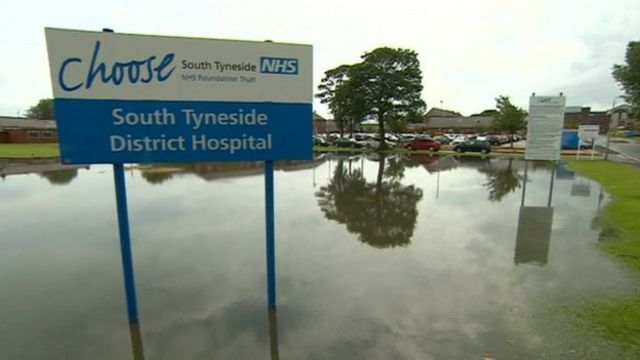 A flood at South Tyneside District Hospital, South Shields