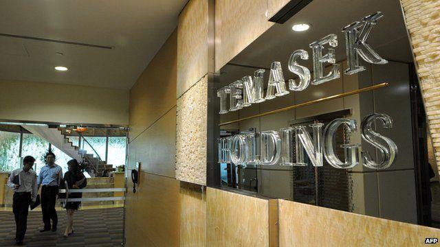 Temasek Holdings placard