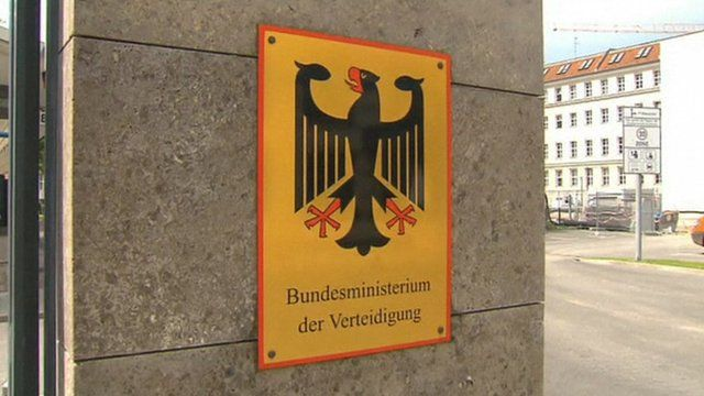 Sign on wall indicating Federal Ministry of Defence