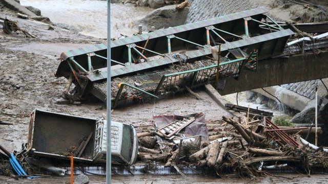 Landslide aftermath in Nagiso, Japan