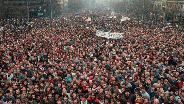 The velvet revolution in 1989