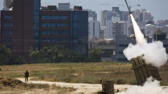 An Iron Dome launcher fires an interceptor rocket in the southern Israeli city of Ashdod
