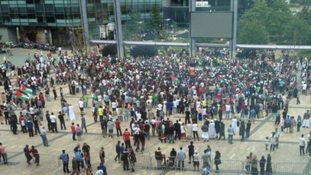 Manchester protesters march against BBC coverage and Gaza bombings