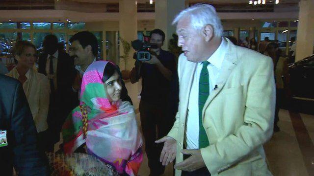 Malala Yousafzai and John Simpson