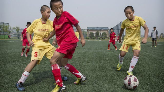 Young players at the Evergrande International Football School