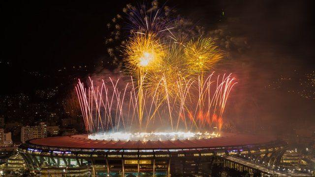 Fireworks are launcehd over the Maracana Stadium in Rio de Janeiro, Brazil