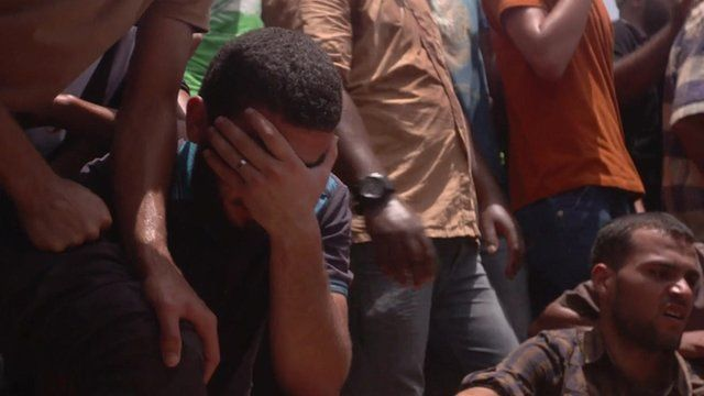 Mourners at a Gaza funeral