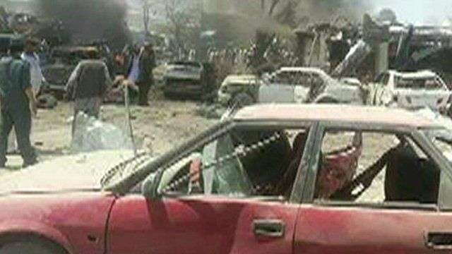 Scene in Paktika province where a car bomb killed at least 89 people