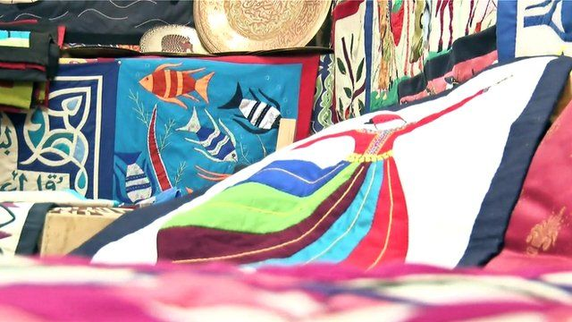 Colourful pieces made by tentmakers in Egypt