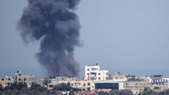 Smoke rises in Gaza strip
