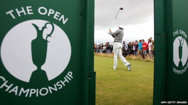 Rory McIlroy watches his drive during a practice round at Royal Liverpool Golf Course