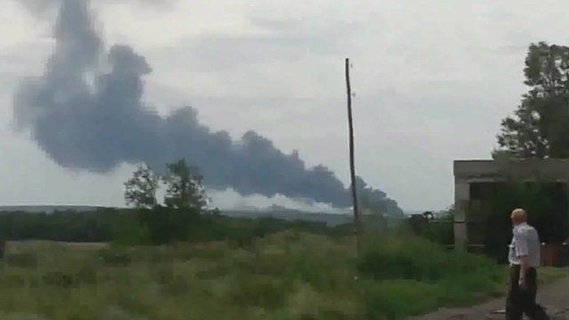 Amateur footage purportedly shows smoke rising from the scene of the crash