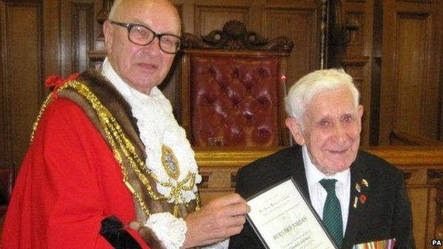 Bernard Jordan with Brighton and Hove Mayor Brian Fitch