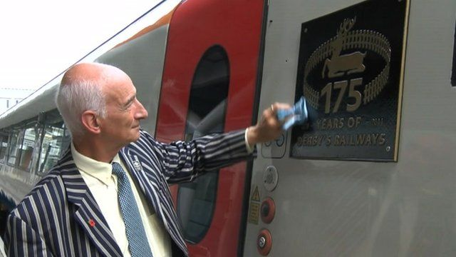 Paul Atterbury officially unveiled the train in Derby