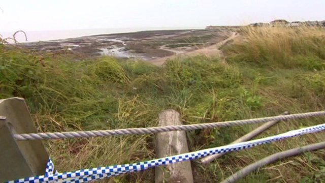 Police tape on the cliff top