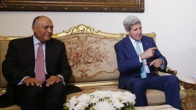 Sameh Shoukry and John Kerry