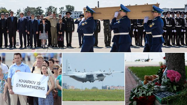 """From clockwise top, a coffin is carried to a military plane at Kharkiv airport bound for Holland, flowers are left at the airport following a ceremony for the victims of MH17, the flight carrying the bodies takes off, Ukrainian citizens hold up a sign which reads """"Kharkiv is sympathizing"""""""