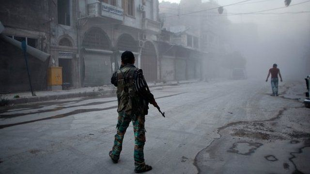 Rebel fighter in Aleppo on 21 July 2014