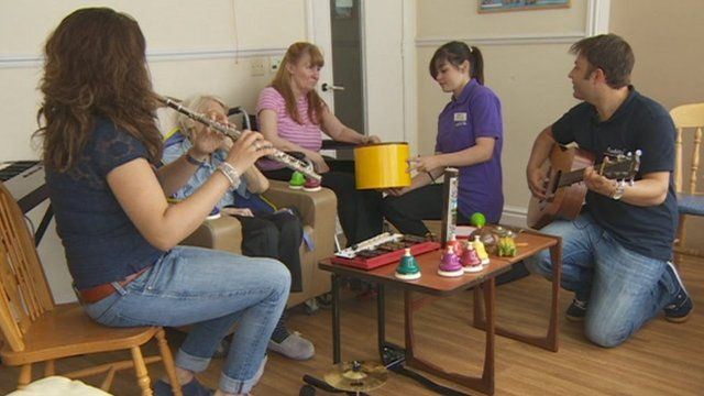 Manchester Camerata musicians perform with residents at Station House Care Home in Crewe