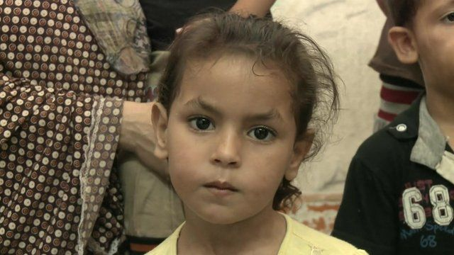 A displaced child in Gaza