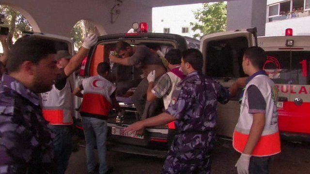 Ambulance bringing injured to hospital