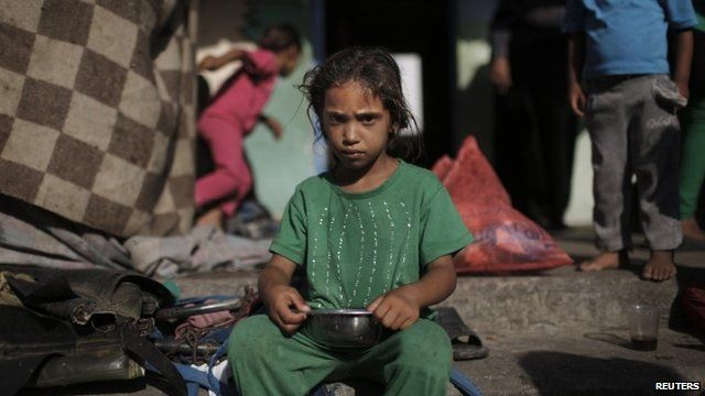 Displaced child in Gaza