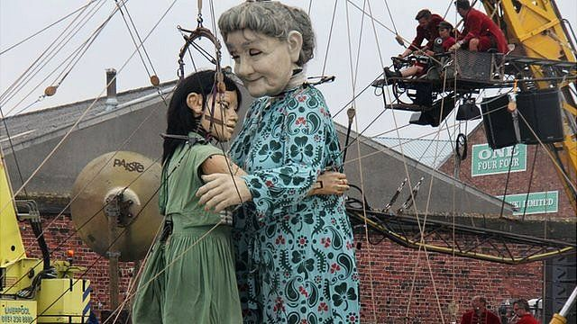 Little Girl and Grandmother marionettes