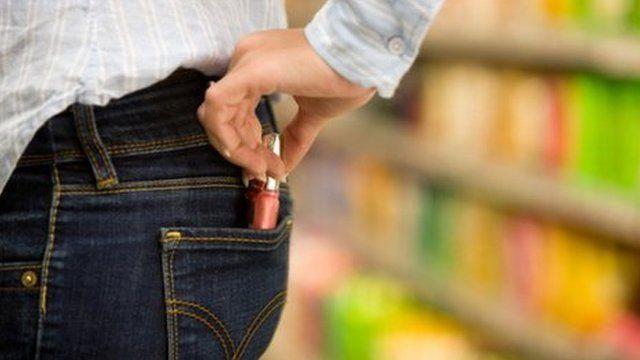 Shoplifting in supermarket