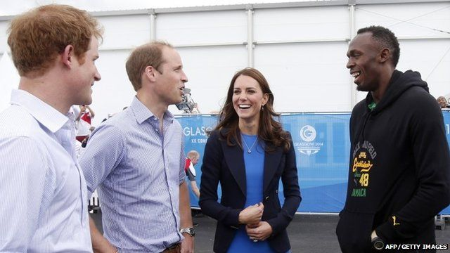 Prince Harry and the Duke & Duchess of Cambridge meet Usain Bolt