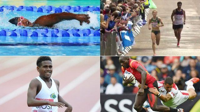 Kenyan para-sport swimmer Ann Wacuka, marathon runner Tongia Vakaafi from Tonga, Rosefelo Siosi from the Solomon Isles who ran in the 5,000m and the Ugandan rugby sevens team