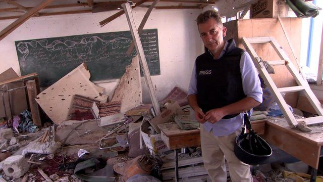 Chris Morris reports from damaged school in Gaza