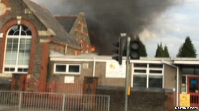 Fire at Birchgrove Primary School, Cardiff - mobile phone footage by Martin Davies