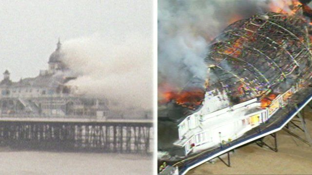 Previous and recent fire at Eastbourne pier