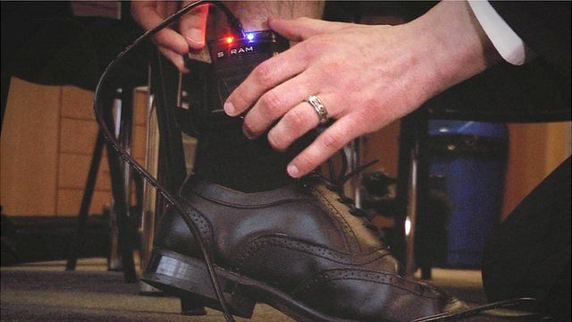 ankle tag being demonstrated