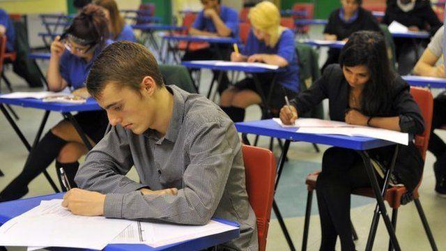A student sitting GCSEs