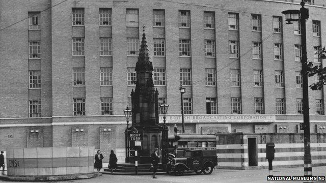 Broadcasting House in Ormeau Avenue, Belfast 1949. Note the air raid shelter to the right of the monument